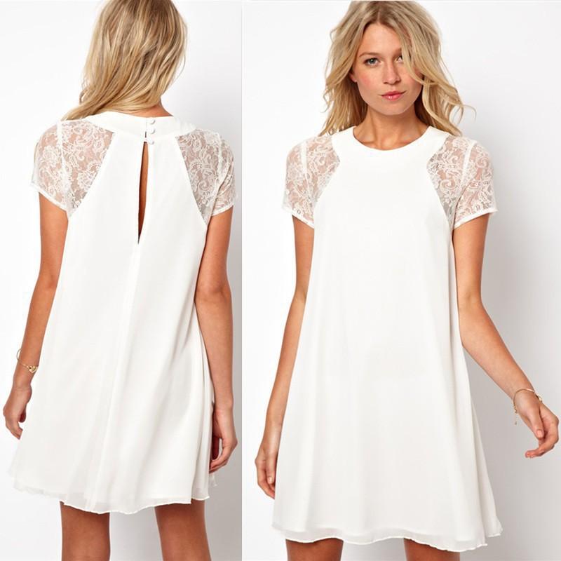 2015 ربيع وصيف ملابس النساء الدانتيل قصيرة الأكمام الشيفون زائد حجم فستان الدانتيل مثير تنورة تحتية xxl المرأة بيع فستان الساخنة(China (Mainland))