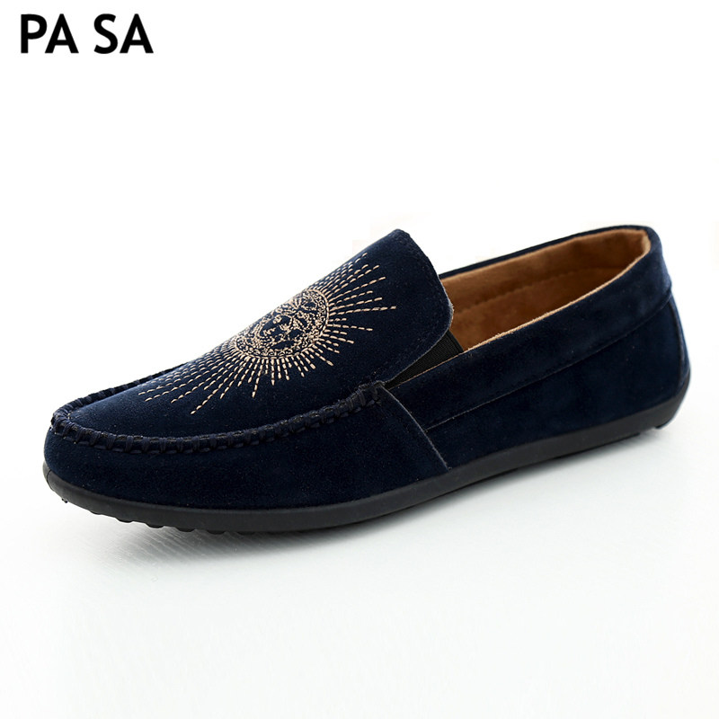 Italian handmade brand mens loafers embroidery wide casual slippers outdoor formal dress creepers 5MS058