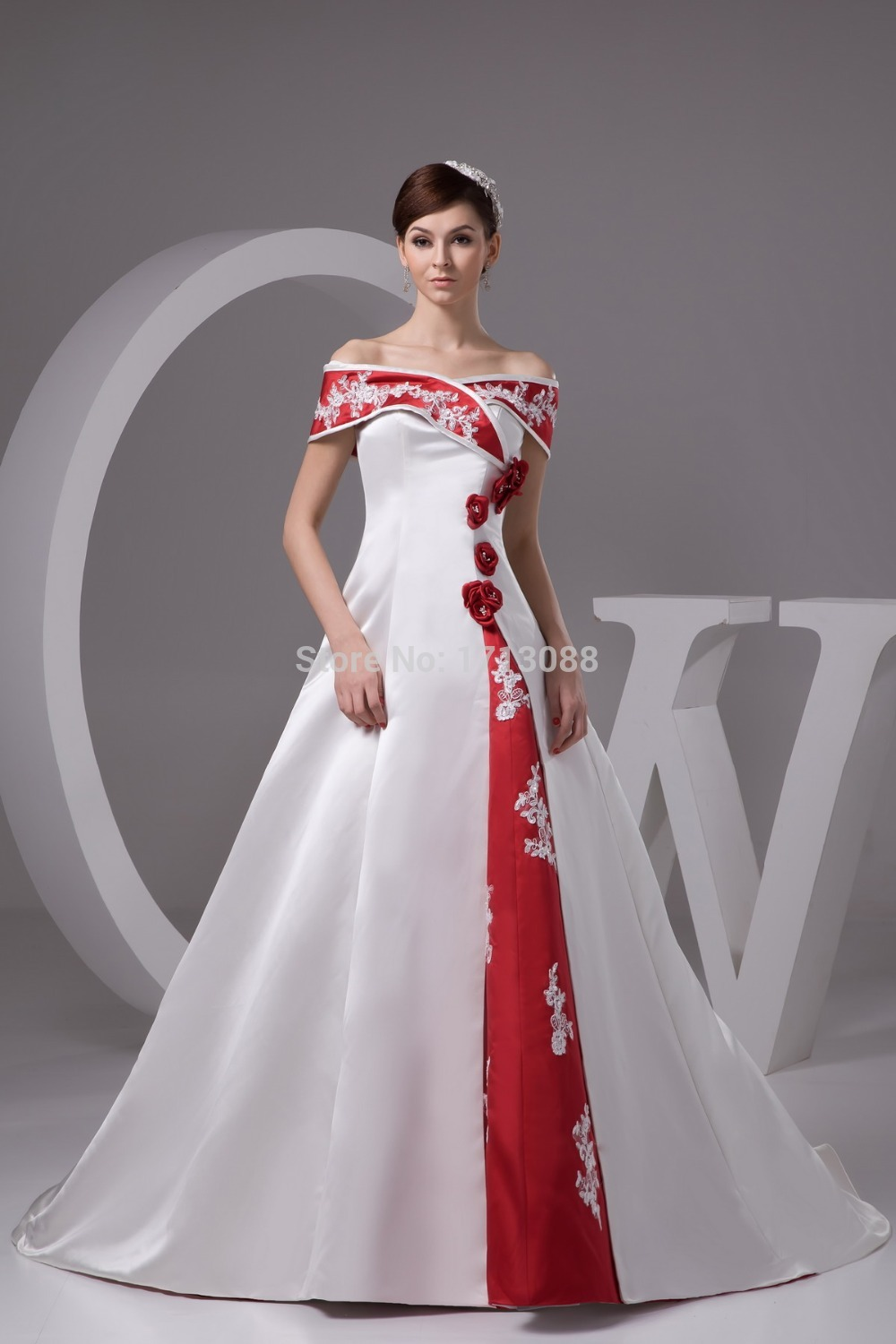 Cheap red and white wedding dresses with floor length for Red wedding dresses with sleeves