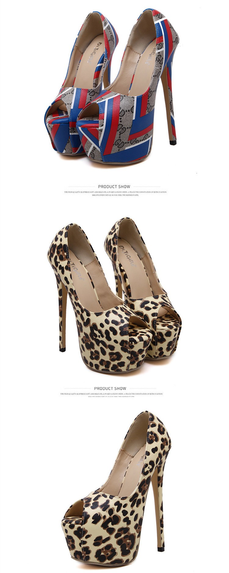 Size 4~9 Sexy Leopard Women Shoes Autumn Platform High Heels Shoes Peep Toe Women Pumps zapatos mujer (Check Foot Length)