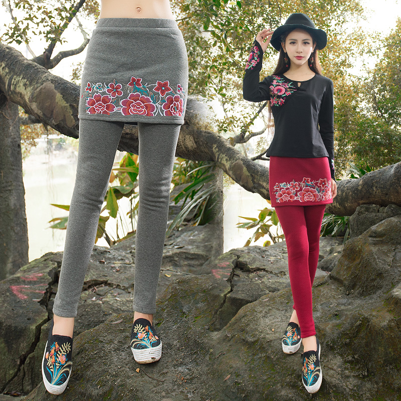 Women ethnic long grey red embroidery leggings 2017 female autumn winter Mexico style vintage pantskirt culottes trousers