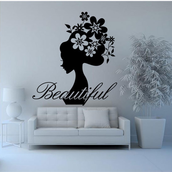 Latest 65*57cm Fashion DIY Black Vinyl Wall Sticker Girl Sticker for Living Room Beautiful Decal Stick on Wall(China (Mainland))