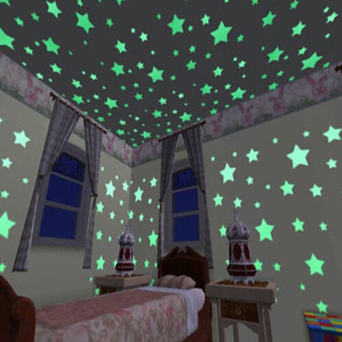 New 100Pc Home Wall Glow In The Dark Space Star Stickers Ceiling Decal Baby Kid Room(China (Mainland))
