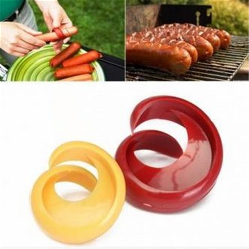 2PCs Hot Dogs Cutter Fancy Sausage Cutter Outdoor Barbecue Slicer Kitchen Gadget Grill Accessories BBQ Tools %(China (Mainland))