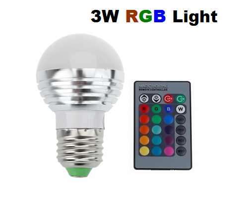 10pcs 3W RGB E27 16 Colors LED Light Bulb Lamp Spotlight 85-265V + IR Remote Control Free Shipping(China (Mainland))