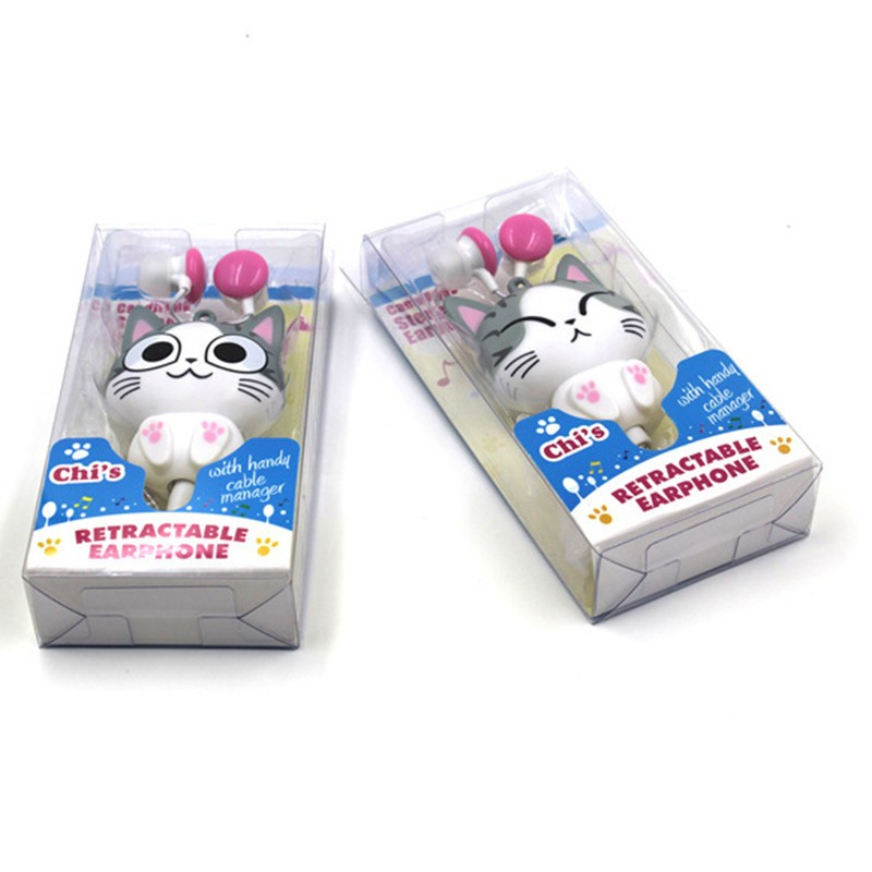 Cute Kawaii Cheese Cat bear Panda Cartoon Retractable MP3 MP4 Earphone for Samsung HTC Xiaomi Sony for IPhone 4 5 5s 6 6s plus