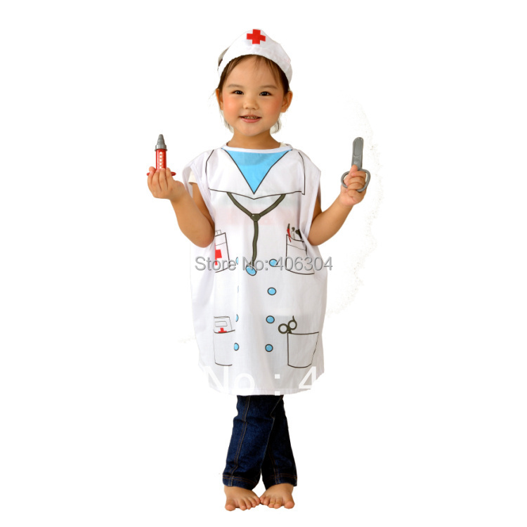 Free shipping, Children halloween party dress up costume,outfit nurse costume clothes for kid .hat and clothing(China (Mainland))