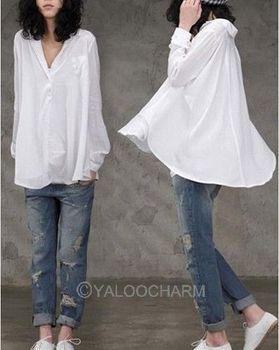 2013 Women Summer New KOREAN White LOOSE LONG SLEEVE BIG HEM LAPEL COLLAR Shirts Women's Blouses On Sale 70714-70716