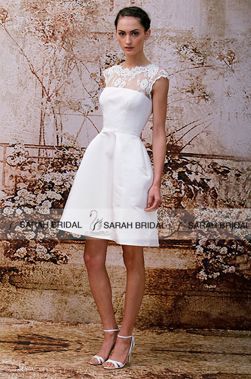 White satin short wedding dresses cute mini beach wedding for Cute short wedding dresses
