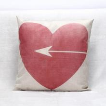 Red love deisgn heart and arrow linen cotton throw pillow cover cushion cover
