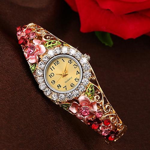 New Womens Beautiful Flower Band Hollow Out Bangle Crystal Quartz Bracelet Watch Jewelry 181 G6TN<br><br>Aliexpress