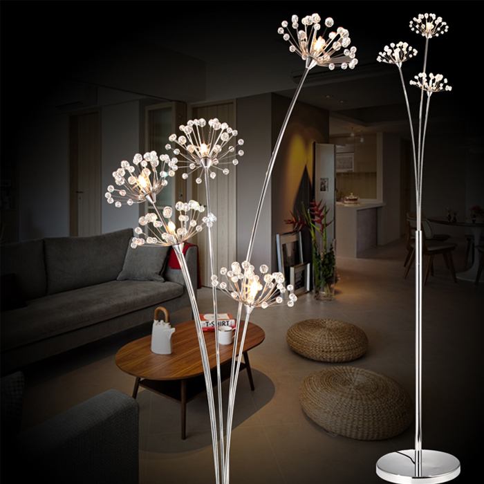 New modern crystal floor lamp for living room flower for A t design decoration co ltd