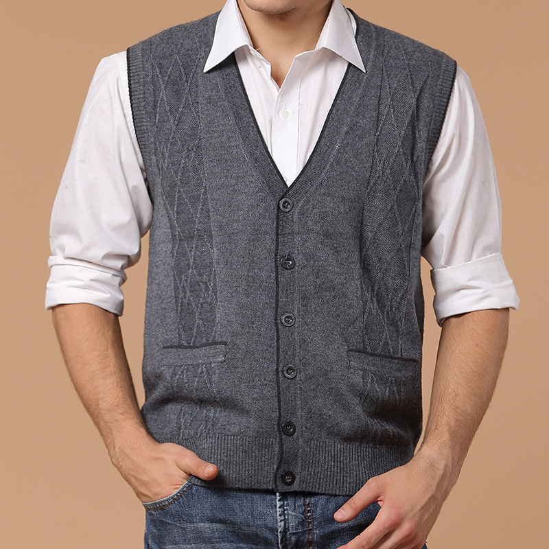 Cashmere knitting mens vest* Active fashion mens sleeveless cardigan sweater vest*Spring/Autumn