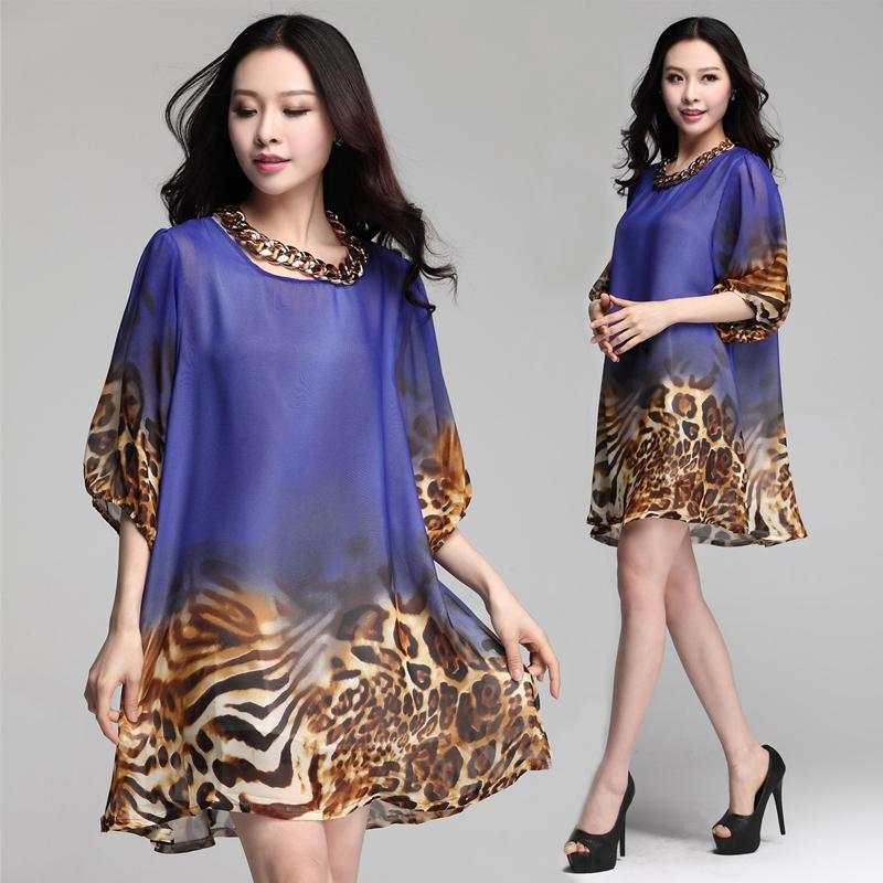 2015 Summer dress Women loose leopard floral print Dress Casual dress roupas femininas Vestidos Femininos plus size XXL XXXL(China (Mainland))