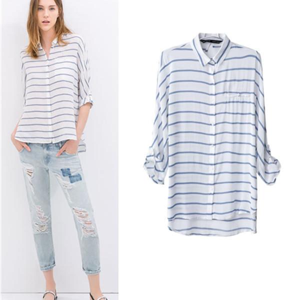 Plus Size Women Blouse New 2014 Autumn Summer Fashion Casual Striped Long Sleeve Ladies' elegant Shirt Blouses S-L #3029(China (Mainland))