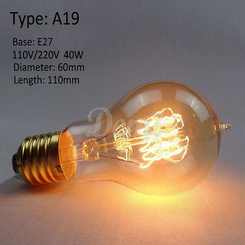 a19 edison bulbs incandescent vintage lamp bulb e27 globe. Black Bedroom Furniture Sets. Home Design Ideas