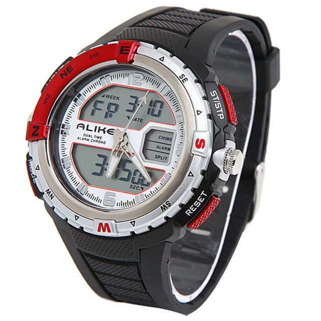Так известный бренд двойной цифров движения спортивные мужские часы каучуковый ремешок 5ATM водонепроницаемый военная часы Relogio Masculino мужской