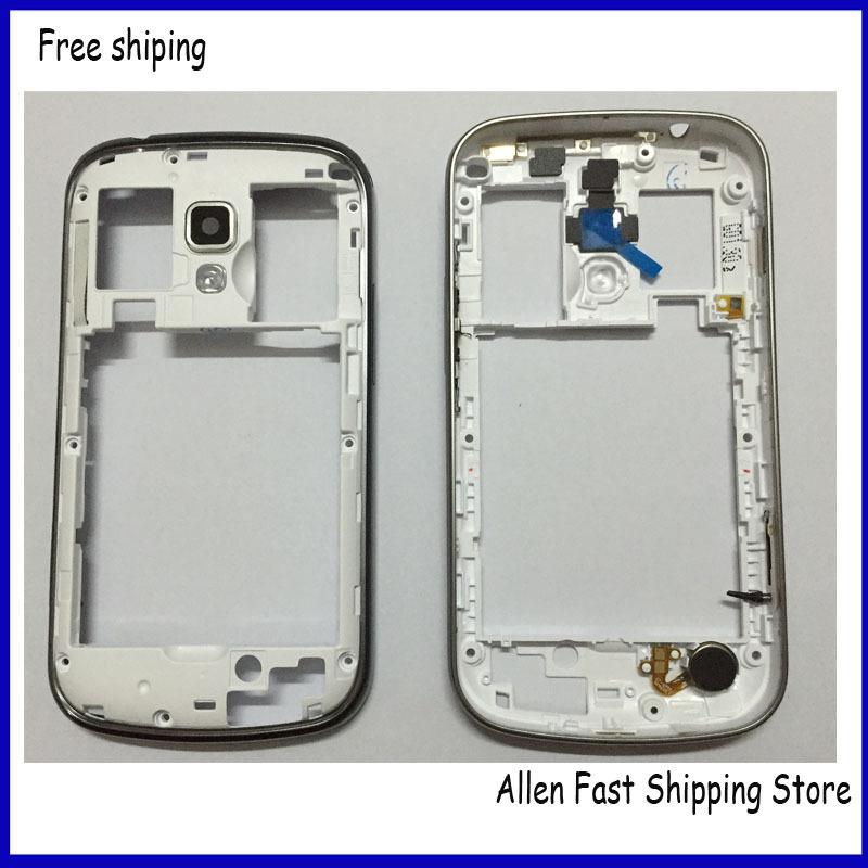 Для Samsung Galaxy S Duos S7562, oem средний шатона рама корпус + камера стекло + боковые пуговица ключи, синий и белый цвет