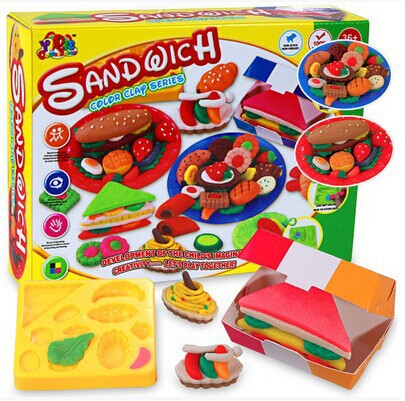 3D Colorful Plasticine Modeling Clay Play Dough Set, Creative Sandwich Play Set, Clay Moulds Deluxe Set(China (Mainland))