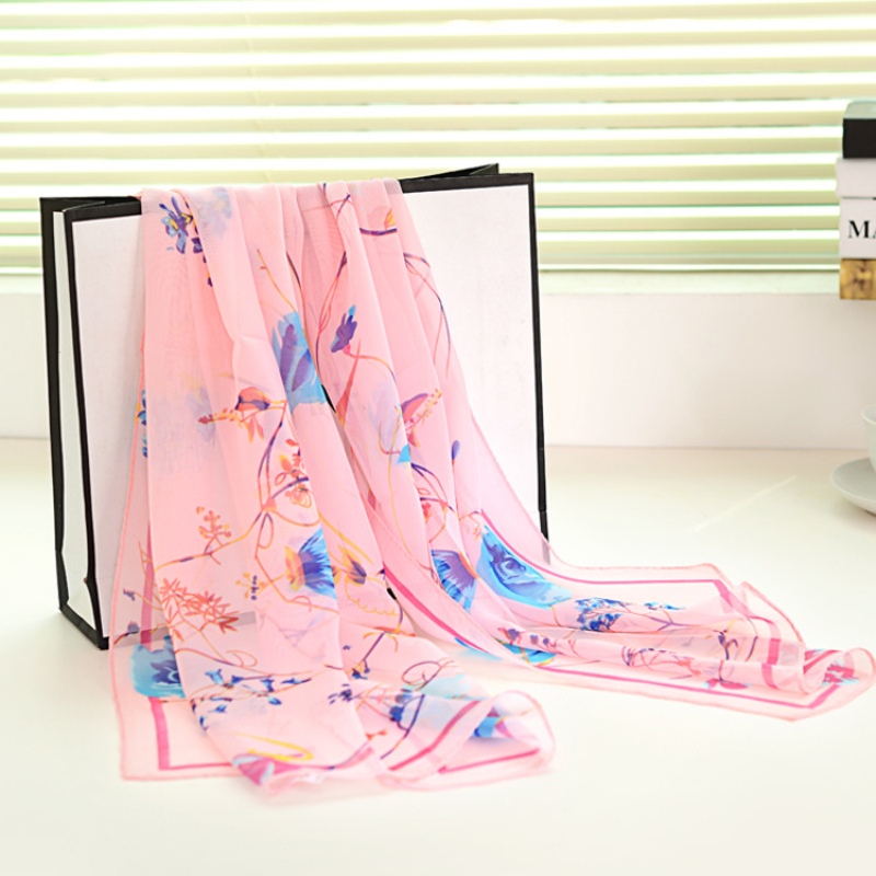 160*50 Hot Sale Women Chiffon Summer Winter Shawls Fashion Scarves Colorful Beach Muffle Flower Print(China (Mainland))