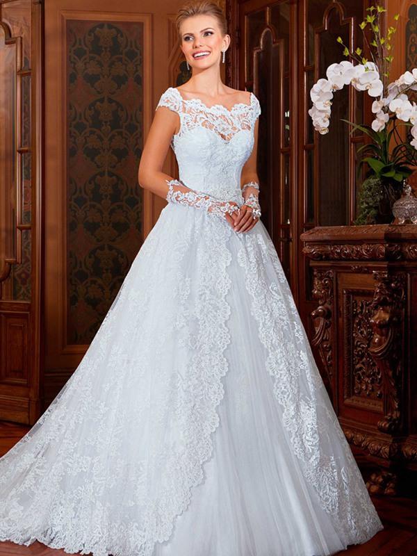 Wedding Dresses Lace Victorian : Aliexpress buy victorian style scoop neckline