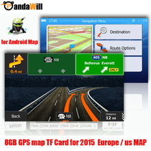 gps maps 8G TF card 2015 latest Map for Android car gps navigation map Europe/Russia/USA/CA/AU/Israel Car gps map accessories(China (Mainland))
