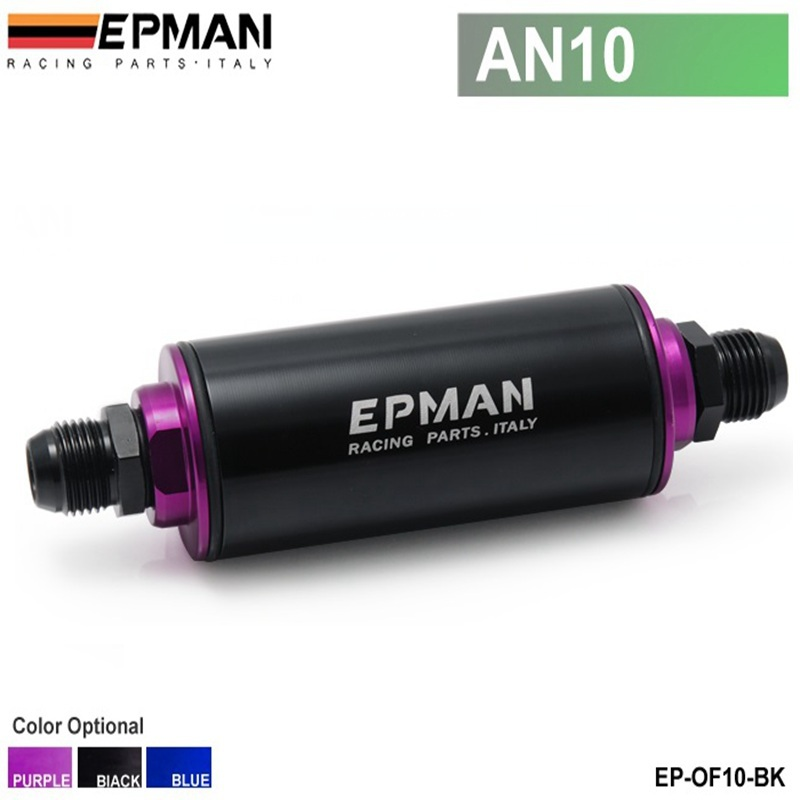EPMAN - Universal 100 Micron Black AN10 Aluminum High Flow Fuel Inline Petrol Filter Car Truck High Pressure EP-OF10-BK(China (Mainland))