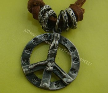 Wholesale Retail Alloy peace men's women's unisex Leather Pendant Necklace Jewelry shop necklaces Cross pendants P06