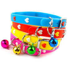 "Wholesale 12pcs/lot Sweet Heart Rubber Dog Kitten Collar with Bell Cat Necklace 6 Colors Mixed Neck for 8-10""(China (Mainland))"