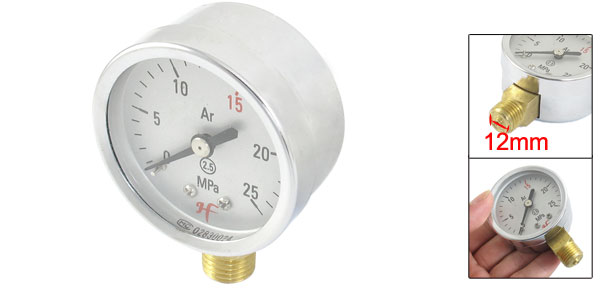 "0- 25MPa Air Gas Pressure Gauge 12mm Thread Diameter 0.47""(China (Mainland))"