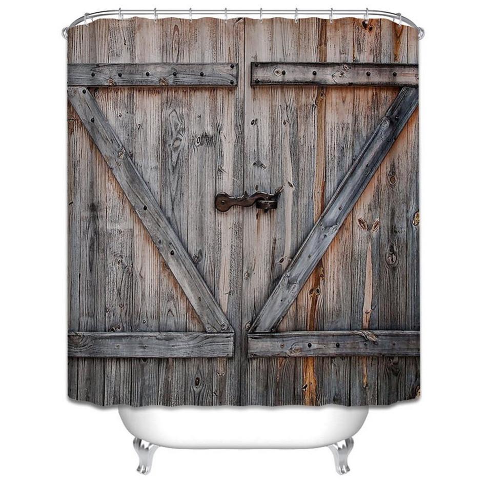 Polyester shower curtain old old bronze wooden garage for Garage bathroom decor