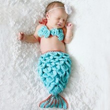 Mermaid Handmade Crochet Newborn Photography Props Woolen Baby Girls Photo Booth Props Knitting Baby Costume Skirt with Bar 0511(China (Mainland))