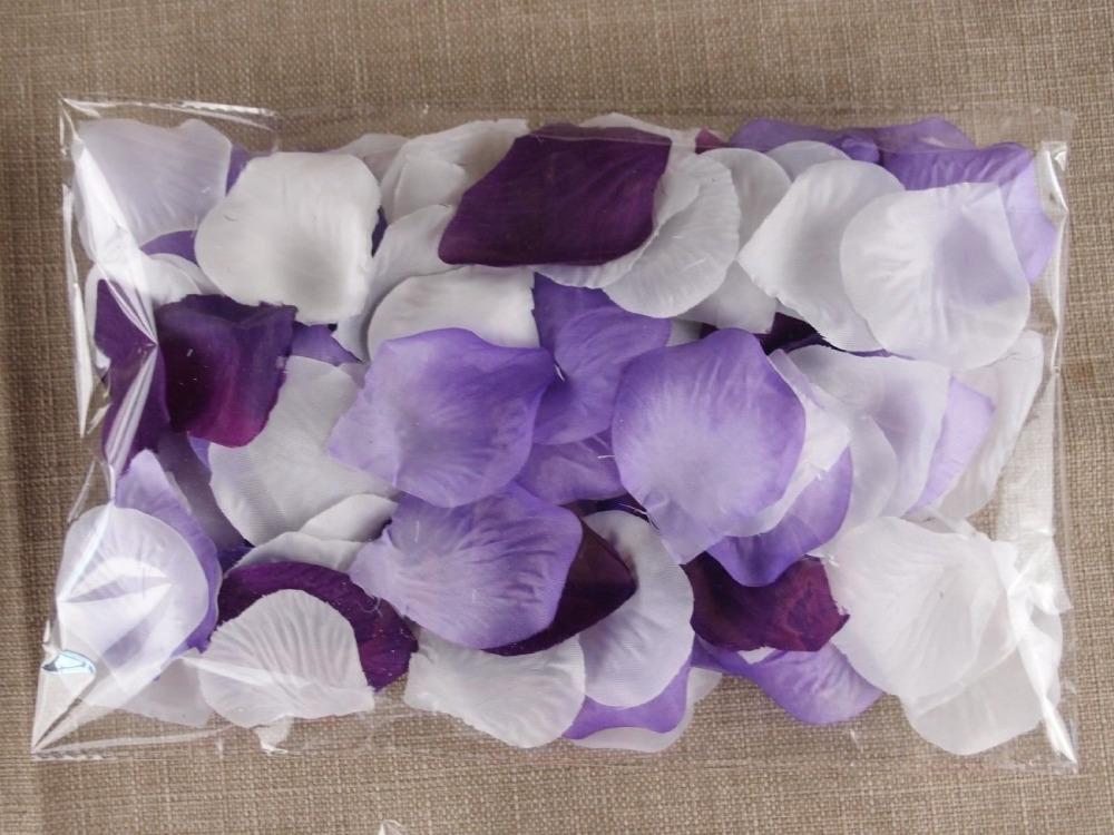 Victoria 900pcs Mixd White Purple Lavender Artificial Rose Flower Petals Wedding Table Confetti
