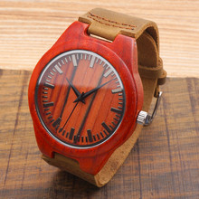 Men's Red Sandal Wood Watches
