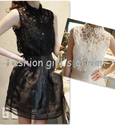 HS32 Celebrity Style Women's Set Vintage Floral Pattern Sleeveless Lace Crochet Blouse Shirt Tops+TuTu Mini Skirt Free Shipping(China (Mainland))
