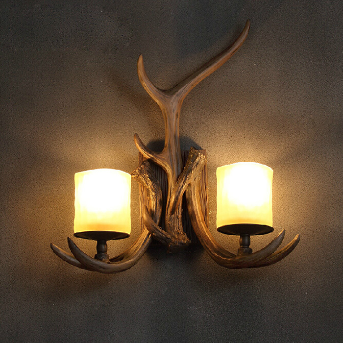 Decorative Wall Light Sconces : Headed antlers wall lamp designer retro nordic american