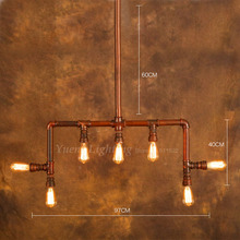 Loft Industrial Style Cafe Bar Lamp Retro Creative Personality Conduit Water Pipe Pendant Lighting YSLD108 Free Shipping(China (Mainland))