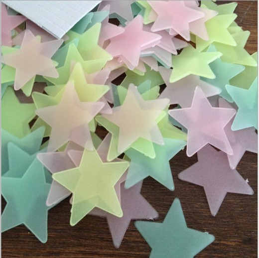 100Pcs/Pack 3/3.8cm Glow In The Dark Star Stickers Noctilucent Fluorescent Wall Stickers Ceiling Room Decal Baby Kids Gift 176(China (Mainland))