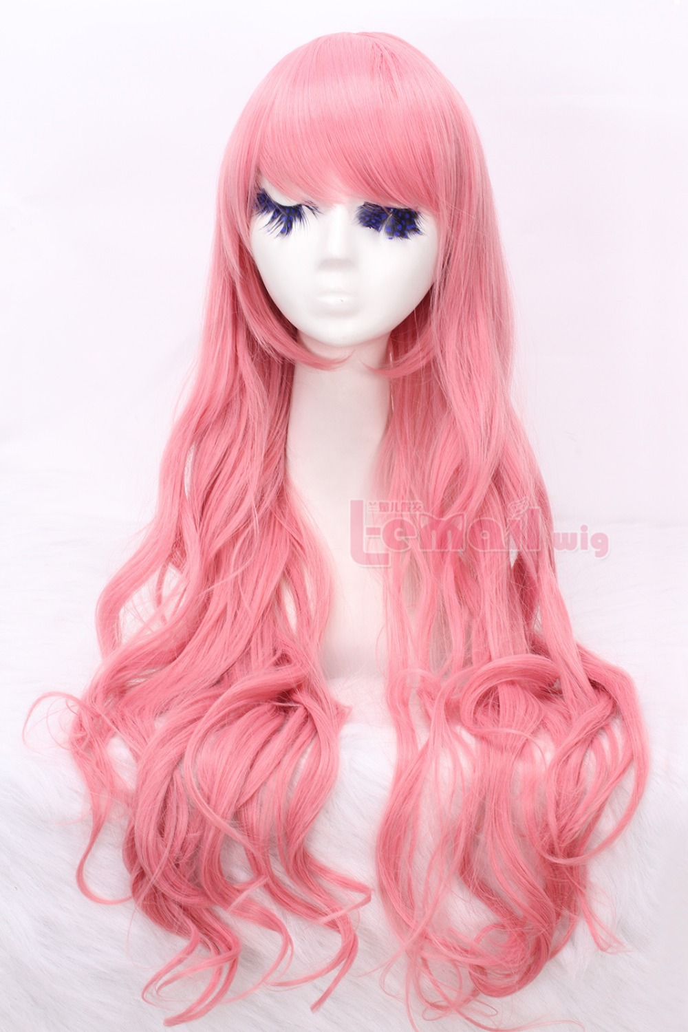 Free Shipping  new arrival women  fashion 80cm long pink wavy sweet Cosplay party cos hair wig CW201D<br><br>Aliexpress