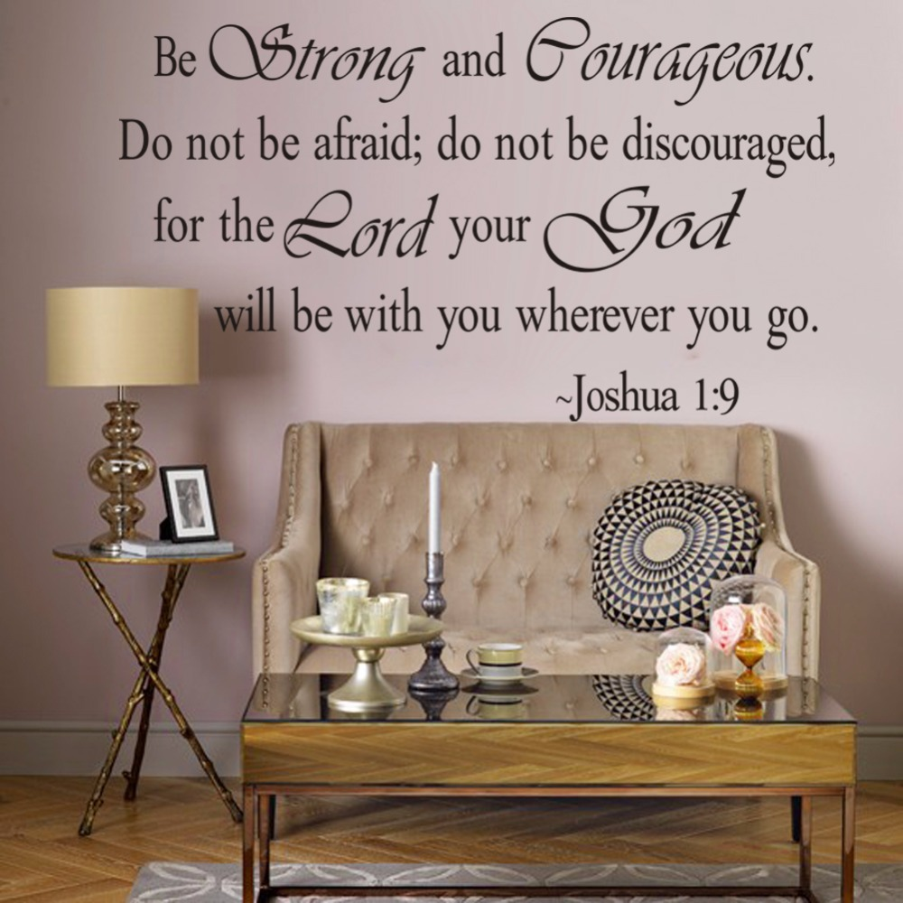 Be strong and courageous bible quote wall stickers home for Decoration quotes