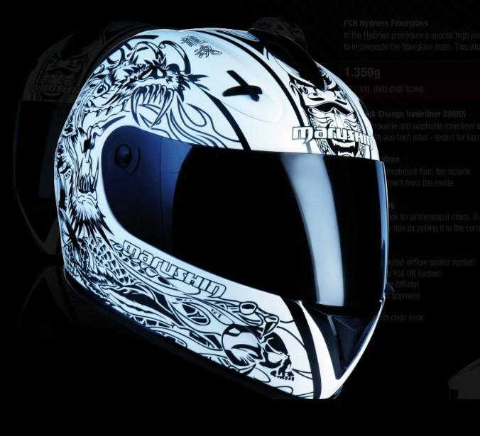 Free shipping, Malu Sen 888RS fiberglass motorcycle helmet full face helmet bright black dragon soul White(China (Mainland))