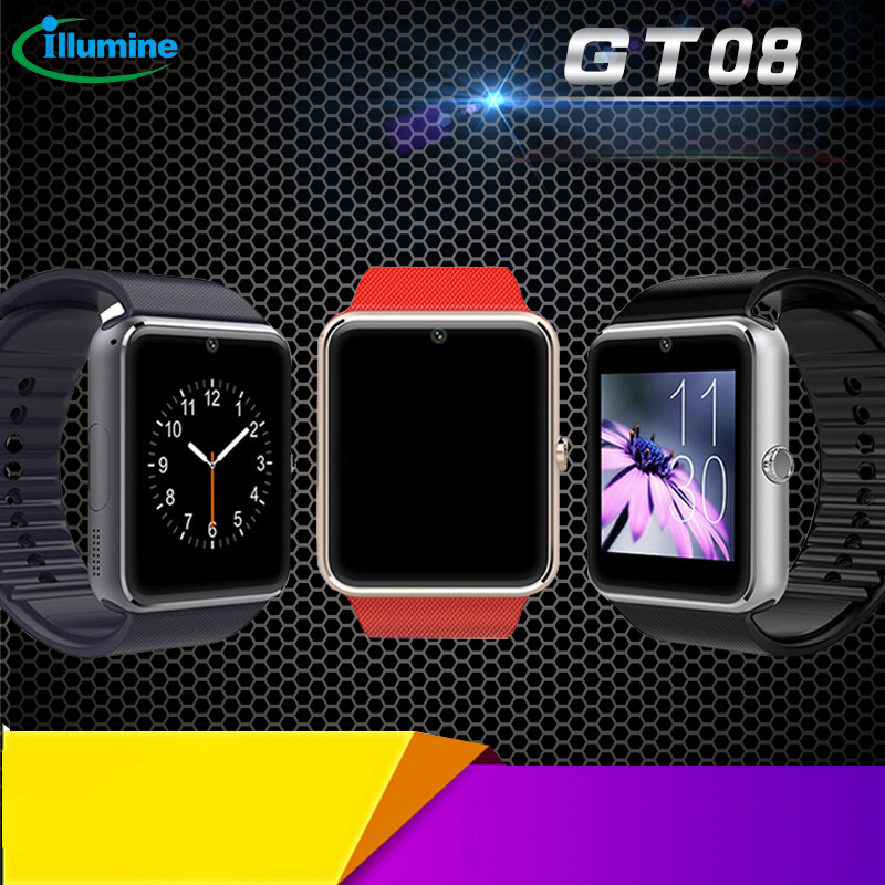 GT08 Smart Watch Clock Sync Notifier With Sim Card Bluetooth Connectivity HD 0.3MP Camera For Apple IOS android OS Long standby(China (Mainland))