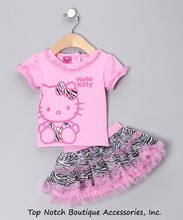2014 Summer New Children Girl's 2 pic Hello Kitty cute girl Set baby Clothing sets dots skirt pants girls clothes