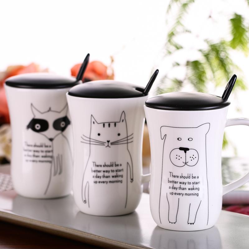 Creative ceramic milk mug with animals cute cartoon Animal Milk Cup Ceramic Lovers Mug Cute Birthday gift,Christmas Gift Coffee(China (Mainland))