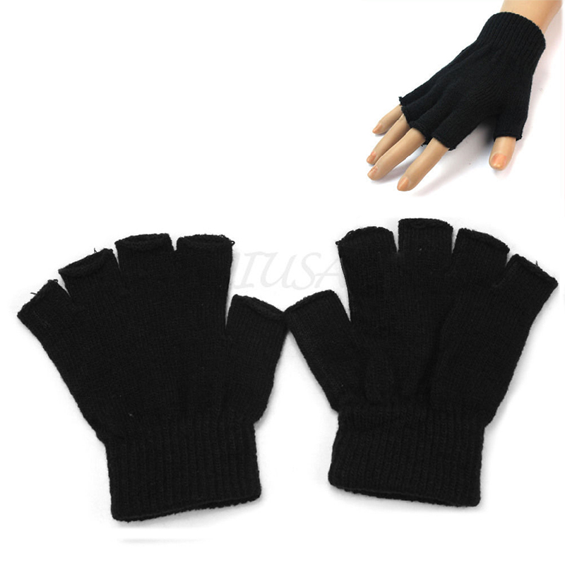 2015 New 1Pair Men Black Knitted Stretch Elastic Warm Half Finger Fingerless Gloves for Winter Gift