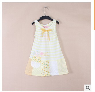 2016 Summer Baby Girls Fashion Striped Splicing Vest Dress Female Kids Sweet Night Dress Children Cute Sundress One-Piece N623(China (Mainland))