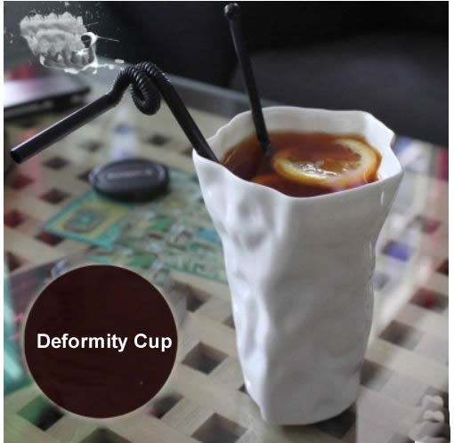 Cool White deformity ceramic cup Wrinkled paper cup ceramic Personality cup creative styling Freak ceramic mug White coffee cup(China (Mainland))