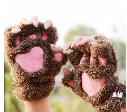 Free shipping Winter Fluffy Bear/Cat Plush Paw/Claw Glove-Novelty party soft toweling teenage/lady's half covered gloves mittens(China (Mainland))