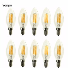 Buy 10 pcs/lots Retro C35 E12 E14 2W 4W Edison Filament Bulb LED Light Lamp Bulbs Candle Incandescent Lighting AC 110V 220V for $20.15 in AliExpress store