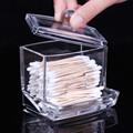 Best prices Acrylic Cotton Swab Organizer Box Portable Container Storage Case Make up Cotton Pad Box